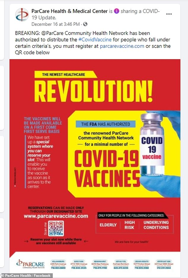 Parcare posted on December 16th to say that it is `` authorized to distribute #CovidVaccine to people who meet certain criteria '' but are not officially listed
