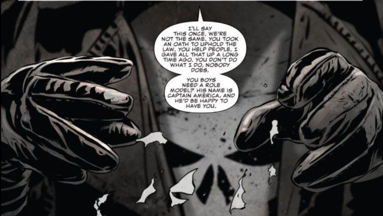 An image from The Punisher # 13 where Frank Castle has very specific words for the police officers who choose to wear his picture (Photo: Marvel Comics)