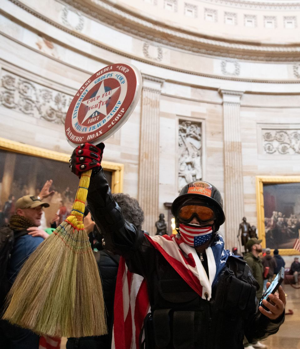 Supporters of US President Donald Trump demonstrate at the US Capitol on January 6, 2021 in Washington, DC.  - Protesters lifted security and entered the Capitol building as Congress debated the election certificate for the 2020 presidential elections (Photo by Saul Loeb / AFP) (Photo by Saul Loeb / AFP via Getty Images)