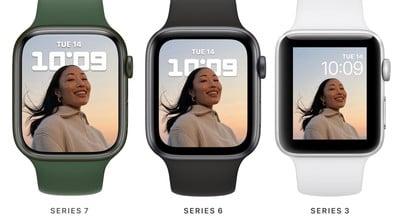 Apple Watch Series 7 beeldschermvergelijking
