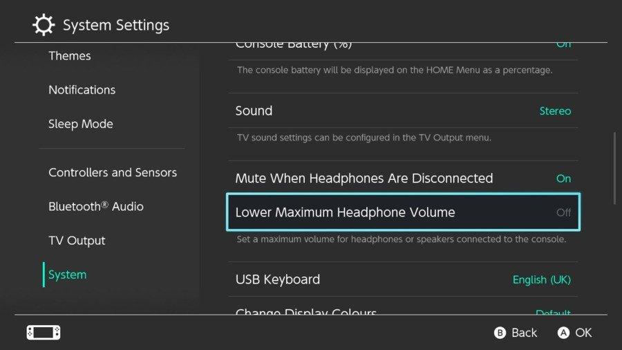 5. Nintendo Switch Verlaag het maximale hoofdtelefoonvolume